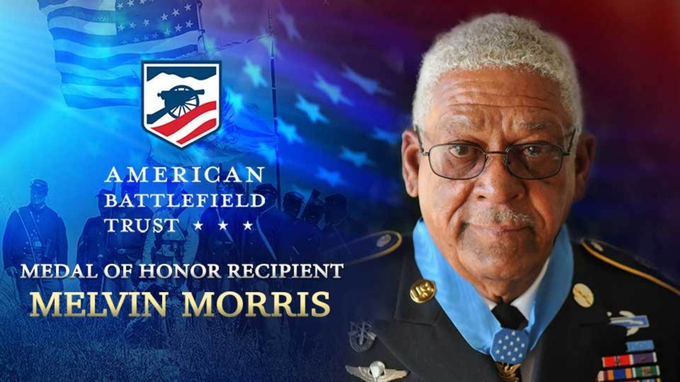 Medal of Honor Recipient Melvin Morris walks in the footsteps of the 54th Massachusetts